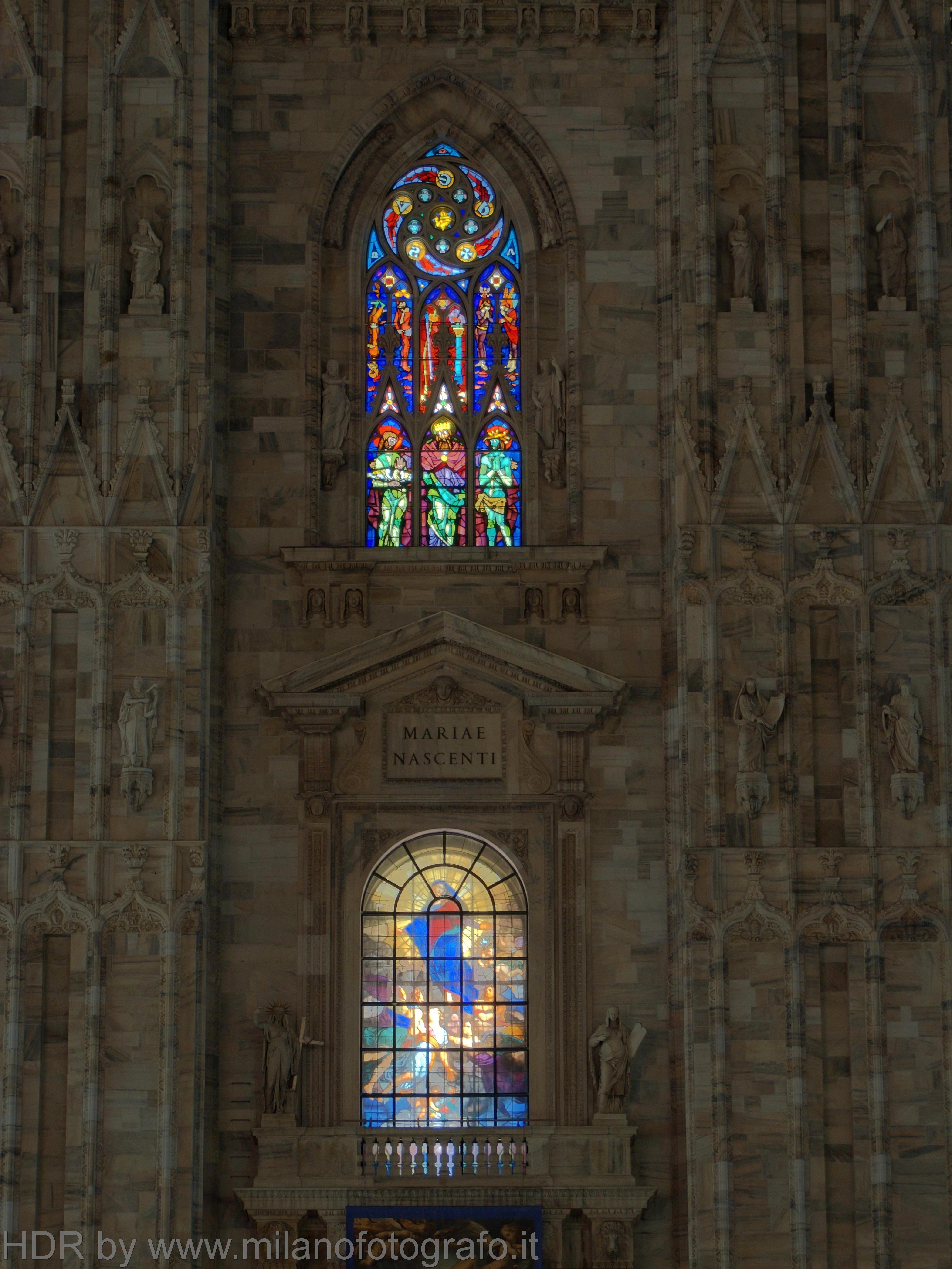 Milan (Italy): Two windows of the facade of the Duomo - Milan (Italy)