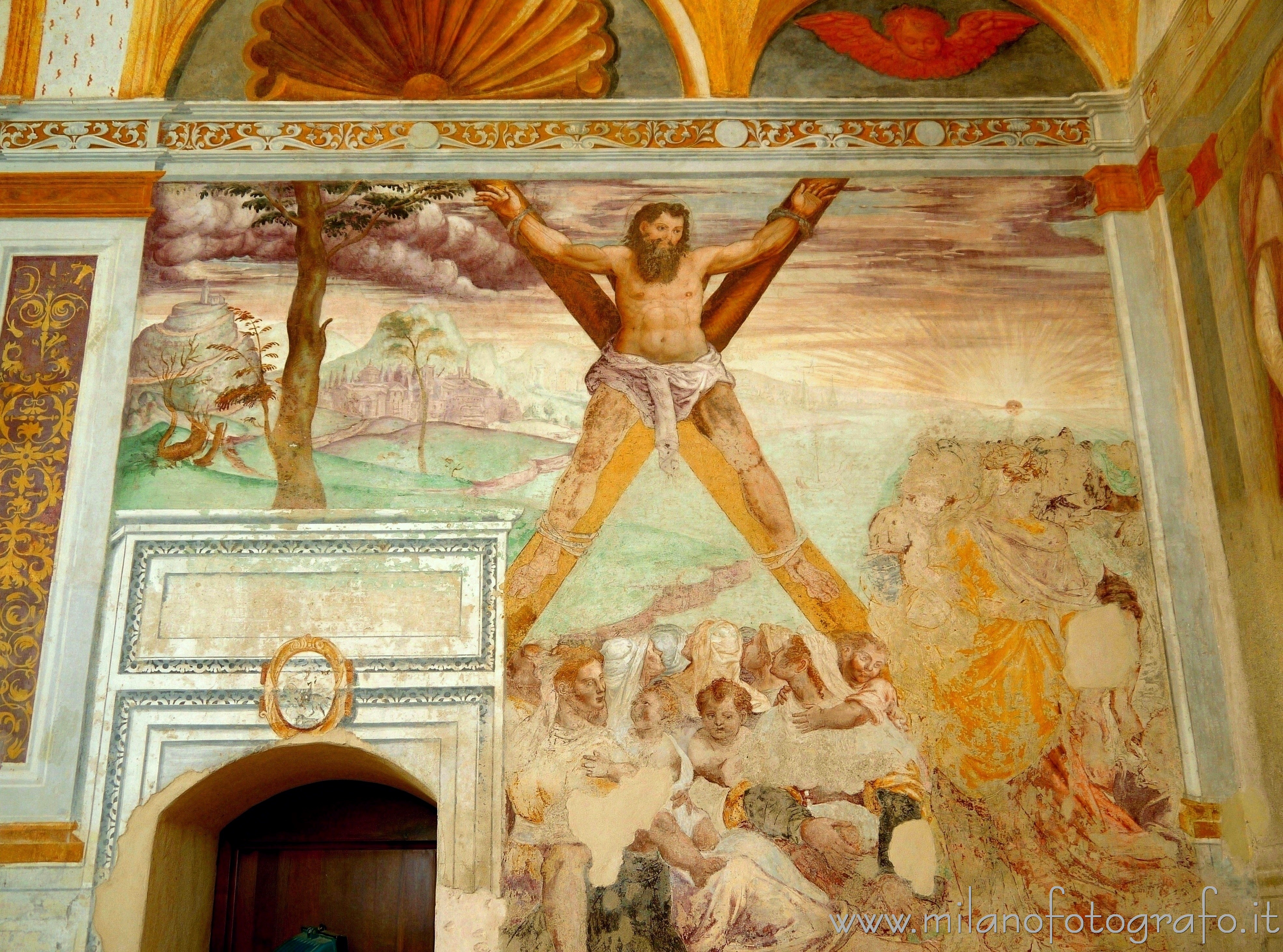 Melzo (Milan, Italy): Fresco of St. Andrew's martyrdom in the Church of Sant'Andrea - Melzo (Milan, Italy)