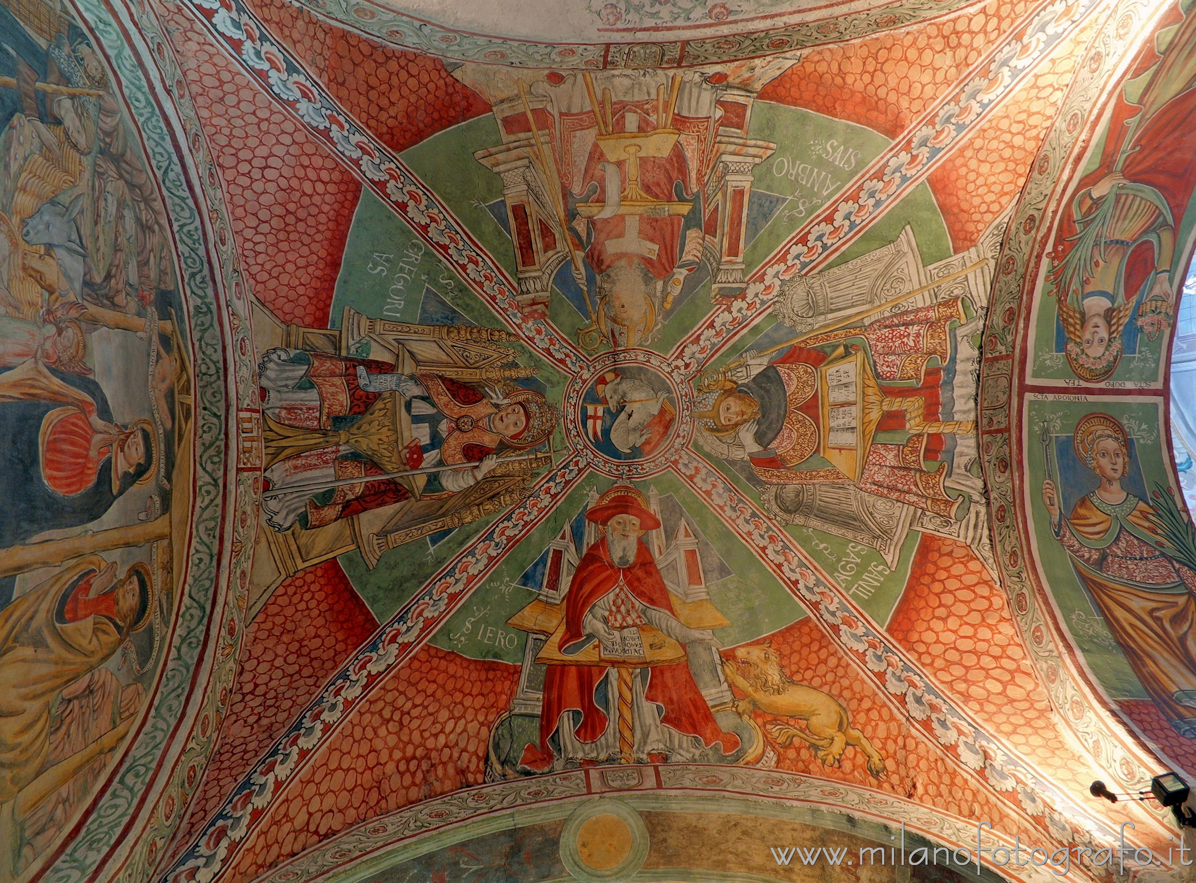 Orta San Giulio (Novara, Italy): Doctors of the Church on the vault of the third right span of the Basilica of San Giulio - Orta San Giulio (Novara, Italy)