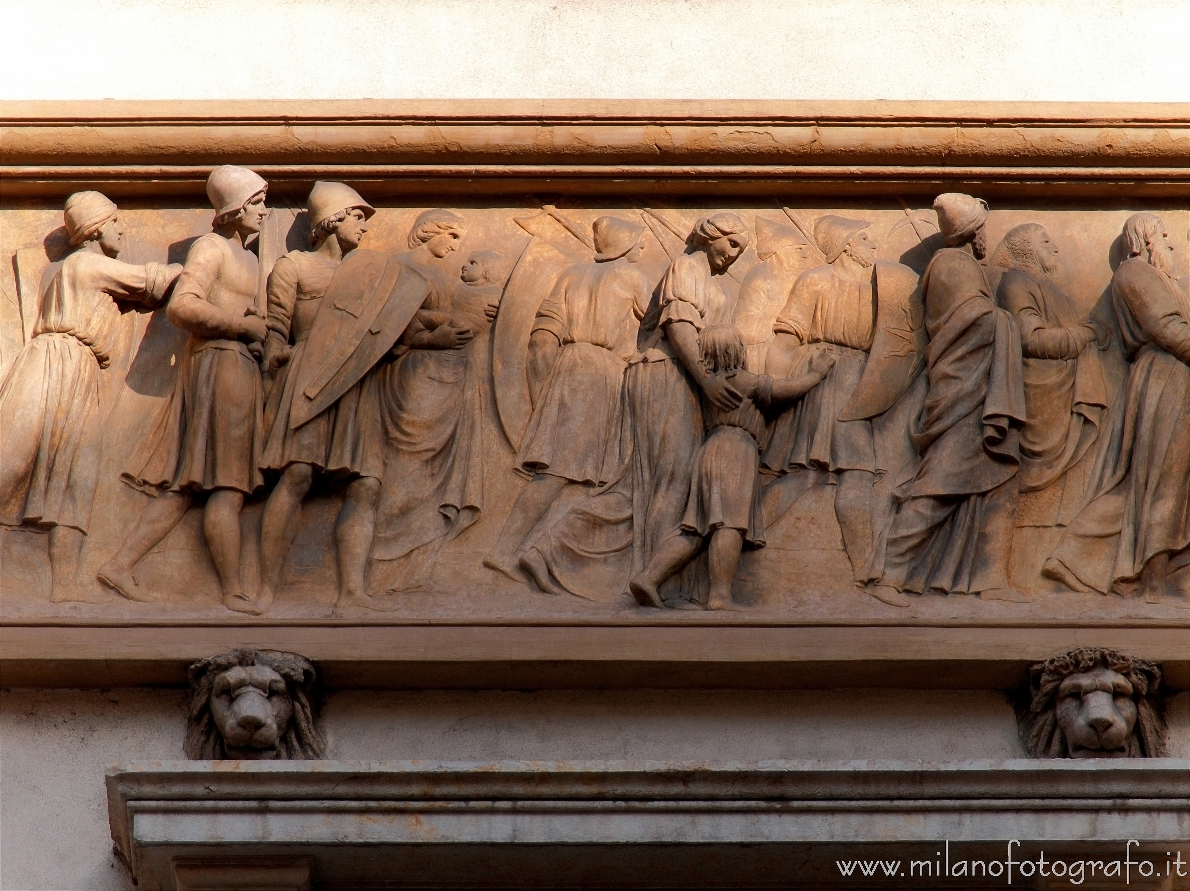Milan (Italy): Friezes on the facade of Serbelloni Palace - Milan (Italy)